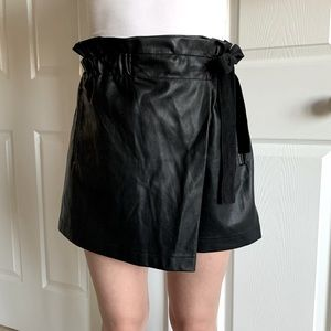 Paperbag Waist Faux Leather Wrap Skorts